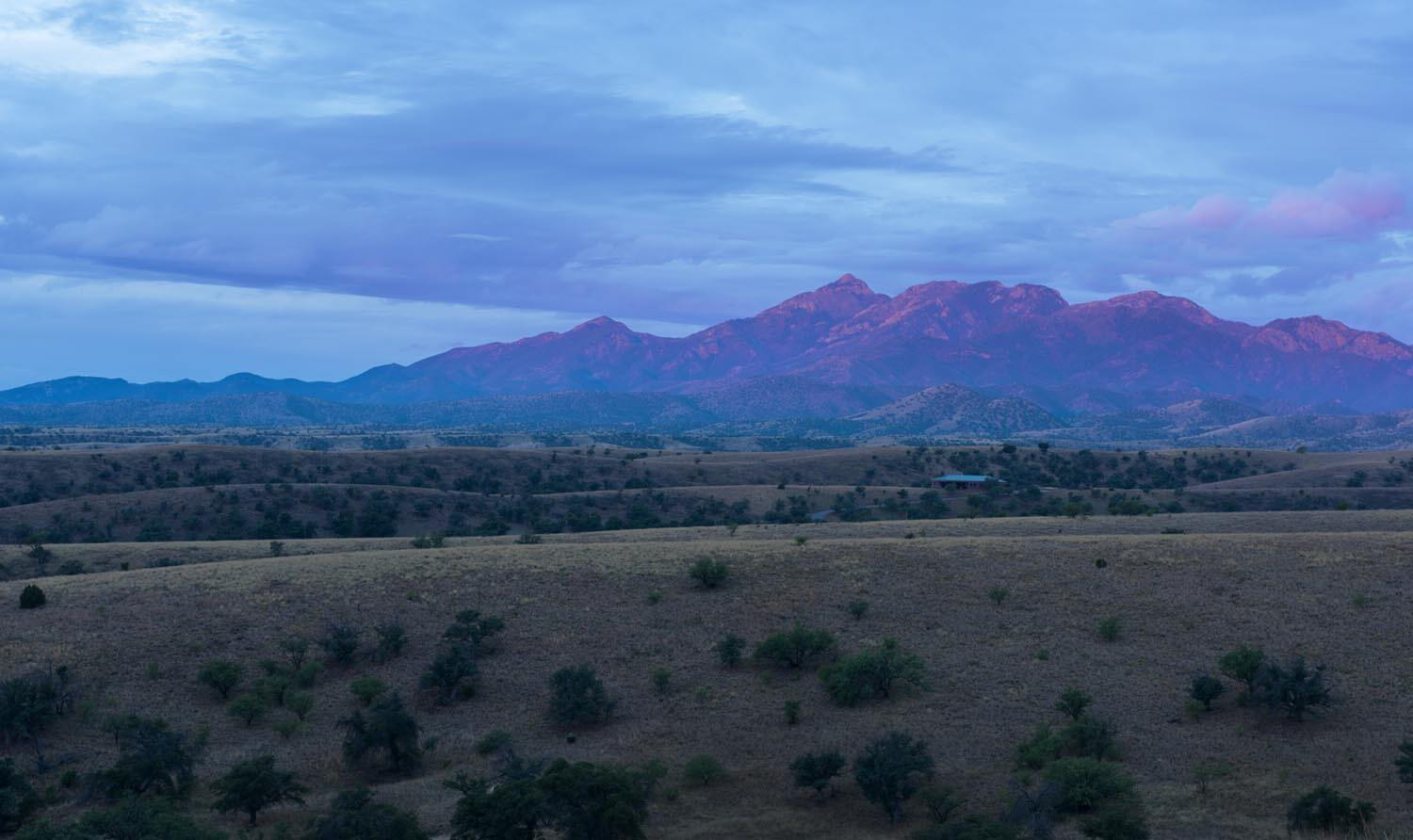Sunrise on the Santa Rita Mountains north of the  town of Patagonia, Arizona, 18 miles from the U.S.-Mexico border.